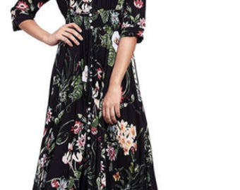 Long Floral Maxi Dress Boho Long Dress Elegant Beach Navy Print Half Sleeve Button Front A Line Shirt Dress