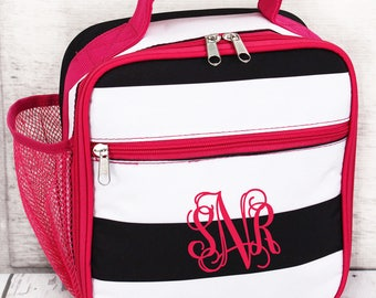 Stripes Insulated Lunch Box in Pink or Black