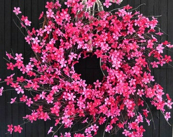 "Pink Blossom Spring Summer Front Door Wreath - XL 28"" Diameter"