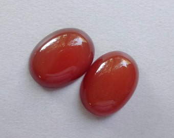 Pair Red Carnelian oval earrings cabochon 19x14 mm