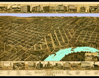 Montgomery Alabama Map dated 1887.. This print is a wonderful wall decoration for Den, Office, Man Cave or any wall.