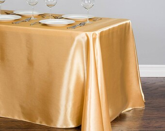 Gold tablecloth etsy gold satin tablecloth 96 x 156 rectangular 50th wedding anniversary gold decor junglespirit Image collections