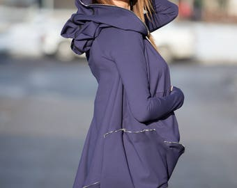 Dark Purple Cotton Hooded Casual Top, Long Sleeve Maxi Tunic top, Plus Size Loose Maxi tunic top, Hoodie Top bu EUG - TU0421PM