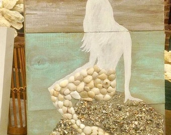 Hand painted Mermaid with hand collected seashells
