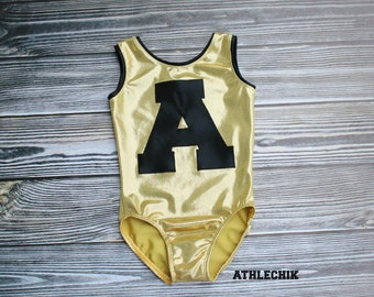 Personalized Gymnastics leotard,Letter applique, Number, monogram, toddler costume, dance, ballet, 2T, 3T, 4T, 5Y, athlechik ,Custom made
