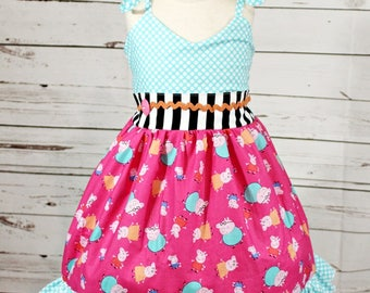Girls Peppa Pig Dress- Toddler Girls Peppa Dress- Baby Girls- Peppa Pig Birthday- Peppa Pig outfit- 6-12m- 12-18m 2t 3t 4t 5 6 7 8