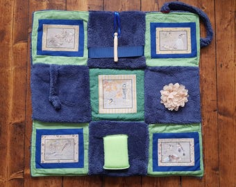 Fidget Blanket ~ Garden Birds ~ Busy Blanket ~ Sensory Activity Lap Quilt for Dementia, Alzheimer's, Stroke and Brain Trauma ~