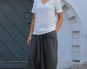 Washed linen top / natural linen top / V-neck linen top / summer linen top