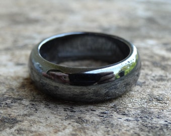 Natural Hematite Band Ring Size 5 6 7 8 9 10 - Hematite Band Ring - Natural Stone Ring -  Boho chic Ring Hematite Band ring