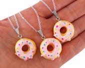 Set of 2 donut friendship necklaces, donut neckalce, donut party favors, girl's birthday party favor, girls birthday gift, girl party gifts