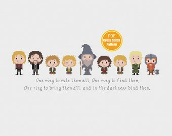 Lord of The Rings Cross Stitch Pattern - Hobbit - PDF Instant Download - Fellowship of the Ring Cross Stitch  - Frodo - Gandalf - Aragorn