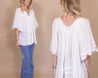 Vintage 70s White Cotton Gauze, Bohemian Indian, Tunic Blouse with Flowing Bell Sleeves