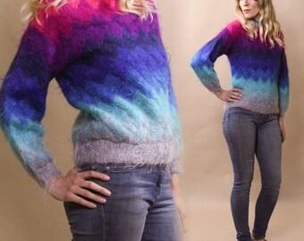 Vintage Technicolor Mohair Sweater with Fluorescent Chevron Stripes