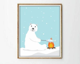 polar bear print, bear print, kids art room, kids room decor, nursery decor, nursery print, baby shower, animal print,4 SIZES INCLUDED
