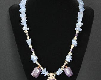 Blue Chalcedony, Amethyst, and Citrine Necklace