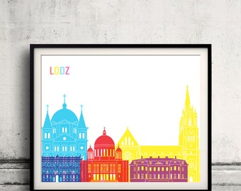 Lodz skyline pop - Fine Art Print Glicee Poster Gift Illustration Pop Art Colorful Landmarks - SKU 2497