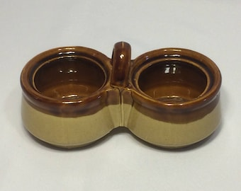 Brown Tan Dual Condiment Ceramic Serving Dish