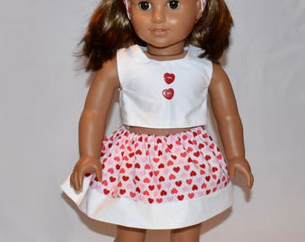 Valentine's outfit for your 18 inch doll includes skirt, crop top and headband