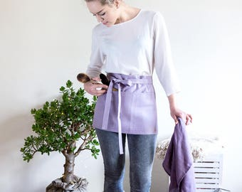 Waitress Apron with pockets and long straps made from natural baltic linen
