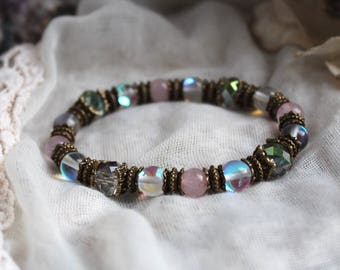 Rose Quartz Bracelet, Heart Chakra, Meditation Bracelet, Yoga Bracelet, Reiki Bracelet, Protection Bracelet, Angel Aura Quartz, Gemstone