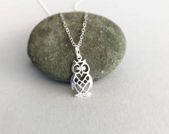 Owl Necklace in Sterling Silver, Silver Wise Owl Necklace, Woodland Animal Jewellery, Nature Lovers Gift