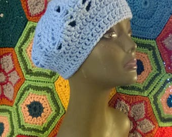 Crochet Hat Beanie Beret with Spiderweb Design in Light Blue Hand Crocheted Tam