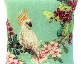Cockatoo Design Pillow - Cockatoo Gift - Cockatoo Pillow Cover - 18x18 Belgian Tapestry Cushion Cover - Cocaktoo Lover Gift  - PC-5668