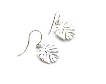Leaf Earrings, Botanical Jewelry, Silver Monstera Earrings, Tropical Earrings,Plant Lady,Minimalist Earrings,Dangle Earrings