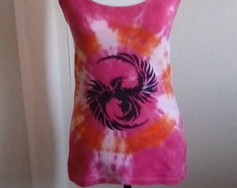 Hippy Tshirt, Tie Dye, Phoenix Vest Top, Plus Size available, Summer Clothing, Festival Clothing, Phoenix  Gift, Gifts for Her