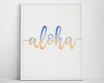 Aloha Print, Hawaiian Art, Hawaii, Aloha Wall Art, Summer Wall Print, Sunset Print, Aloha Printable, Coastal Art, Navy Blue and Yellow,