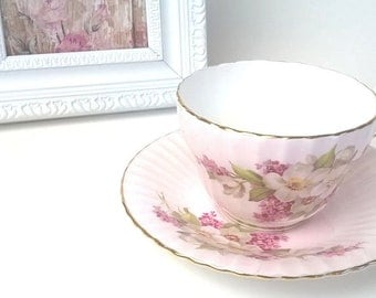 Antique Paragon England Fine China Tea Cup Saucer Blush Pink