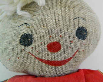 Vintage Fabric Doll Stuffed- Collectible Doll - Retro Fabric Doll - Retro Gift - Eastern Europe Doll - 1970's Doll
