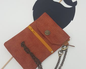 Man wallet with handmade chain in leather man wallet made in Italy