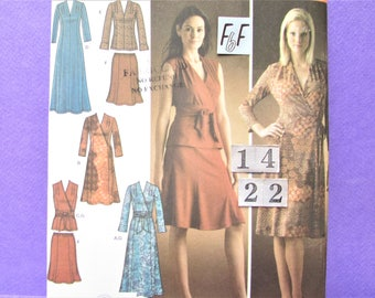 V neck, Wrap Knit Dress Sewing Pattern/ Simplicity 4074 Womens Mock Wrap, Top Tunic, Skirt, Dress, Uncut/ Plus Size 14 16 18 20 22