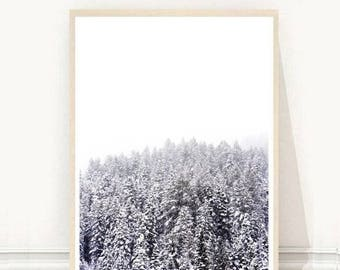 Forest Print, Forest Art, Forest Wall Art, Minimalist Print, Modern Scandi Print, Printable Art, Digital Download, Wall Decor