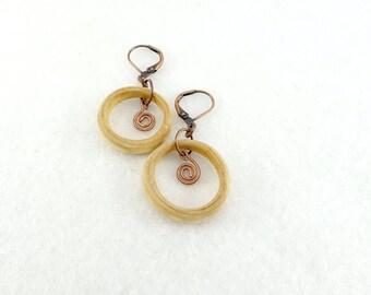Wooden earrings, little wooden ring and metallic swirls