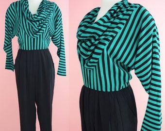 1980s Kwai Petites Jumpsuit // 80s Romper, Green and Black Stripes, One Piece, Women Size Medium, Large