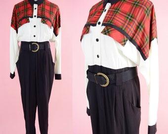 Vintage 90s Jumpsuit // Red, Tartan Plaid, One Piece, White, Black, Belt, Women Size Small Medium