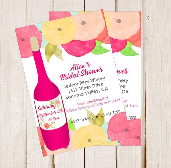 Bridal Shower wine tasting invitation Bachelorette invitations