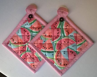 Set of Two Watermelon Potholders Hot Pads Hanging Loop Optional