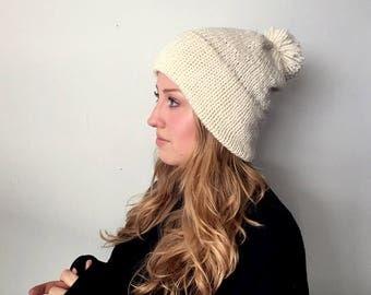 Pompom Brim Knit Beanie | White Slouchy Hat