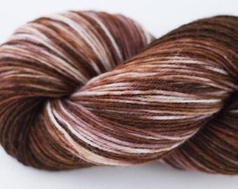 Handdyed variegated gradient sock yarn OOAK EXOTIC WOOD 75/25 wool/polyamide 100g/420m 3.5 oz/460y 4ply, fingering, soft, warm