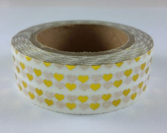 10 meters Washi tape heart, Washi tape gold and White Hearts - 1 roll of adhesive paper tape - 10 meters / 15 mm