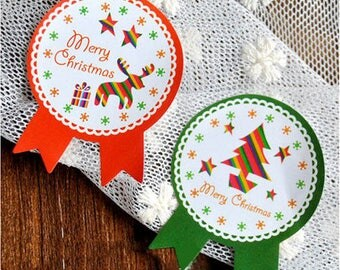Christmas stickers, gift, Christmas, red and green Christmas paper Stickers