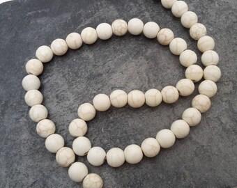 8 mm round stone beads, ethnic beads, Howlite stone, white pearls