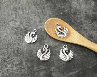 Charms Swan pendants in silver, 17 x 13 mm bird charm
