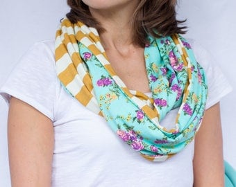 Mint Floral and Mustard Stripe Infinity Scarf