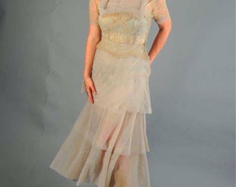 Vintage 1930s gray sheer and lace dress