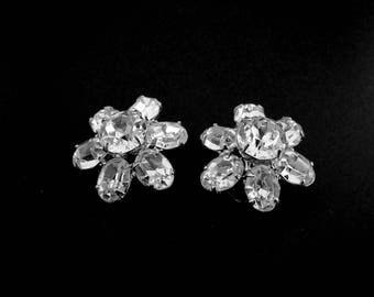 Weiss Clear Rhinestone Clip On Earrings, Designer Costume Jewelry, Vintage 1942