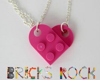 Dark Pink Heart Necklace - Jewelry made with LEGO® pieces